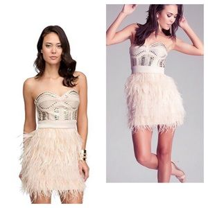 Bebe Isis nude feather studded dress
